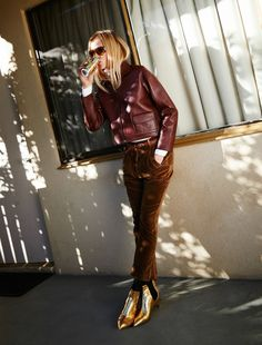 ginta lapina for glamour france february 2015 // burgundy leather jacket & gold boots #style #fashion #editorial