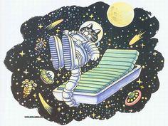 Cat Dreams : Amusing Cat Cartoons by Bernard Kliban - Cat Dreams : Astronaut Cat Napping in Space Wallpaper   18