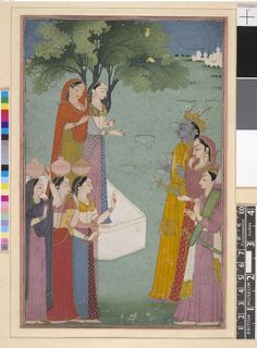 Folio illustrating a scene from the Ramayana - Rāma, Sīta and Lakṣmaṇa beside a village well. Gouache painting on paper, India, Pahari School, Garhwal Style, Panjab Hills, ca. 1780-1790