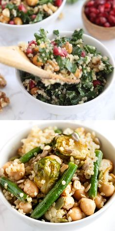 Today we're making two amazing and super easy quinoa salad recipes! These recipes are healthy, gluten-free and a great vegan meal prep idea. We've got a cold kale quinoa salad with pomegranate and a hot roasted vegetable quinoa salad! The best and they're vegan, vegetarian and gluten-free. #salad #quinoasalads