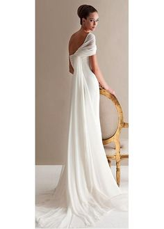 Elegant Chiffon One-shoulder Neckline Mermaid Wedding Dresses