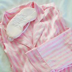 Adorable Pink Striped PJ Set And A Monogrammed Sleep Mask Cute Pjs, Cute Pajamas, Foto Real, Pink Princess, Princess Diana, Everything Pink, Getting Cozy, Girly Girl, Girly Things