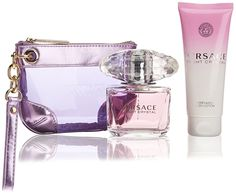 Versace Bright Crystal Perfume 3 PCS Gift Set for Women - 3.0 oz Eau de Toilette Spray   3.4 oz Body Lotion   Versace Handbag * Read more reviews of the product by visiting the link on the image.