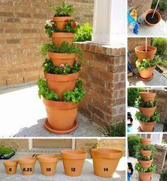 MENTŐÖTLET - kreáció, újrahasznosítás: Cserepekből emeletes virágtartó