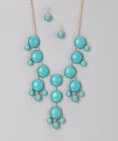 Take a look at this Turquoise Bubble Fun Necklace & Earrings by Felicia LTD on #zulily today!  $27
