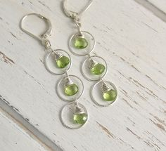 Earrings with Peridot Teardrops and Sterling Silver Loops CE-257 by jewelrybyroz on Etsy