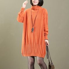 2018 orange cable knit sweaters knit dresses casual pullover vintage sweatersMost of our dresses are made of cotton linen fabric, soft and breathy. loose dresses to make you comfortable all the time.Flattering cut. Makes you look slimmer and matches easily.Custom make service available! Please feel free to contact us if you want this dress custom made. Materials used:100% cotton Measurement:One size fits all for this item. Please make sure your size doesn't exceed this size: 4XL/BU...