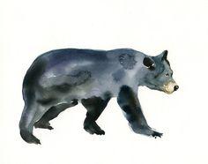 BLACK BEAR Original watercolor painting 10x8inch by dimdi on Etsy