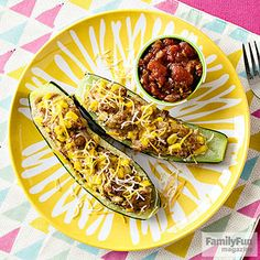 Chili-fied Zucchini Canoes: A no-fuss stuffing of turkey chili turns a humble zucchini into a satisfying meal. Top your boats with a dollop of salsa, a sprinkle of shredded cheese, or other favorite chili add-ins.