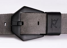 Men's genuine leather belt grey leather black by RexcraftBELTS