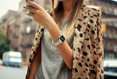 leopard blazer + gray tee