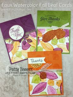Faux Watercolor technique featuring Stampin' UP! Vintage Leaves stamp set, aquapainters and wink of stella. www.PattyStamps.com