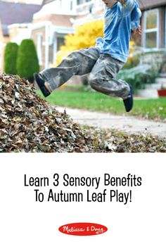 4 Sensory Benefits of Leaf Play: Outdoor Fall Activities *Read about 4 sensory benefits found from a romp in your best pile of leaves this autumn Outdoor Activities For Toddlers, Autumn Activities, Sensory Activities, Sensory Play, Sensory Bins, Toddler Playroom, Melissa & Doug, Outdoor Learning, Free Fun