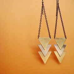 Triple arrow/ chevron earrings, two tone- brass and nickle silver, geometric triangles I have these. Clair makes amazing things!