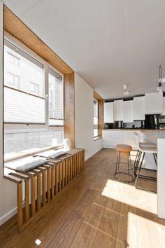 I like this window-seat/radiator cover Küchen Design, Design Case, House Design, Cover Design, Loft Design, Smart Design, Diy Radiator Cover, Radiator Heater Covers, Best Radiators