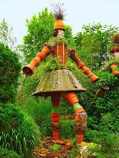 Terra Cotta Pot People in a Wisconsin Garden~