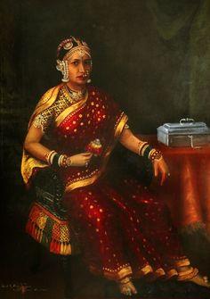HH Subbamma Bai Sahib Subbamma Bai secondwife of HH Raja Ramachandra Thondaiman in her richly brocaded silk sari and breathtaking jewels It has been officially catalogued. Ravivarma Paintings, Indian Paintings, Painting Portraits, Classic Paintings, Raja Ravi Varma, Contexto Social, Rajasthani Painting, Indian Eyes, Royal Indian