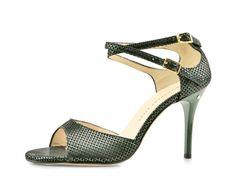 Madame Pivot Shop | DOPPIA FIBBIA Camoscio laminato nero e verde