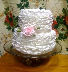 Mini White Ruffled Wedding Cake By ctirella on CakeCentral.com www.facebook.com/SweetInspirations2012.