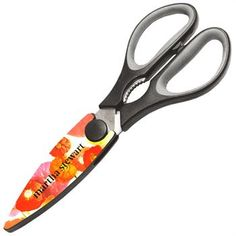 2024 Utility Scissors with Magnetic Holder: Stainless steel construction, serrated edge blades. Jar lid opener/gripper. Magnetic plastic blade sheath. Available in black, white, neon green, yellow. Grey sheaths available on any color.