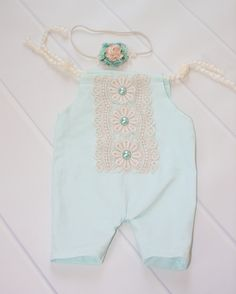 Limited Edition - newborn romper in a mint, aqua and cream - set includes coordinating headband (RTS by SoTweetDesigns on Etsy