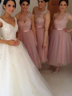 A-line One Shoulder Ankle Length Tulle  Bridesmaid Dresses HX0015 #bridesmaiddresses #ankle #applique #vintage