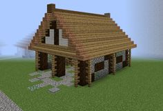 Medieval Community Tiny Barn - GrabCraft - Your number one source for MineCraft buildings, blueprints, tips, ideas, floorplans! Minecraft Horse Stables, Minecraft Barn, Minecraft Medieval, Minecraft Plans, Minecraft Construction, Minecraft Tutorial, Minecraft Creations, Minecraft Crafts, Minecraft Building Designs
