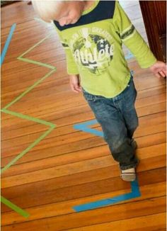 2 Simple Tape Activities: What to Do with Just Some Lines of Tape - Gross Motor Skills Gross Motor Activities, Montessori Activities, Gross Motor Skills, Fun Activities For Kids, Indoor Activities, Infant Activities, Kindergarten Activities, Educational Activities, Learning Activities