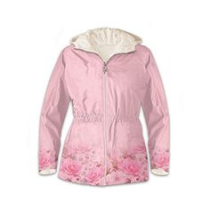 Jacket: Blush Of Beauty Anorak Fleece-Lined Women's Jacket ($139) ❤ liked on Polyvore featuring outerwear, jackets, hooded anorak, pink jacket, metallic jacket, flower jacket and hooded jacket