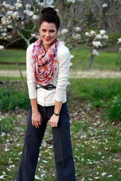 big scarf, belted cardigan over wide-leg dress pants