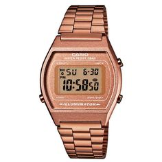 Rosegouden horloge: Casio B640WC-5AEF retro horloge   Super trendy   http://www.kish.nl/Casio-B640WC-5AEF-digitaal-horloge/