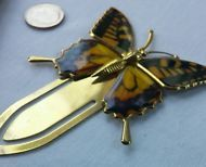 Vintage Butterfly Gold Tone Hair or Book Pin / Clip, Brown, Yellow, Retro