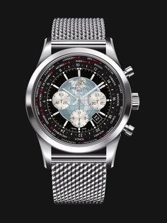 Transocean Chronograph Unitime watch by Breitling automatically adjusts to local time - stainless steel case, steel mesh bracelet and black dial with globe emblem