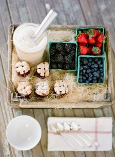 love this idea for a yogurt bar at a party & having a spread of toppings for guests to choose from: bite sized pies, fresh berries, chocolates, etc. ~shoot from Jose Villa and Lisa Vorce