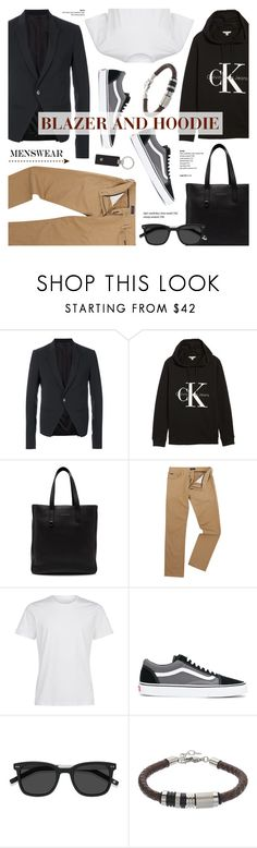"""Men's Fashion - Blazer & Hoodie - Street Style"" by anyasdesigns ❤ liked on Polyvore featuring Rick Owens, Calvin Klein Jeans, Salvatore Ferragamo, Polo Ralph Lauren, La Perla, Vans, EyeBuyDirect.com, Montblanc, men's fashion and menswear"