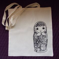 Russian Doll Cotton Tote Bag by carolinedulko on Etsy