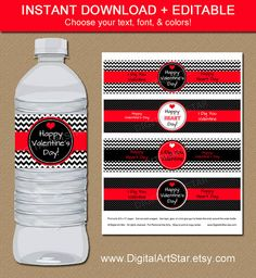 Valentines Day Water Bottle Labels -  Edit the words in Adobe Reader - by #Digitalartstar on #etsy, $5 #valentine  Buy them here:https://www.etsy.com/listing/219729250/valentines-day-water-bottle-labels