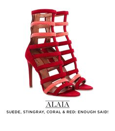 Azzedine Alaïa: Suede and Stingray Caged Strappy Sandals in Red and Pink