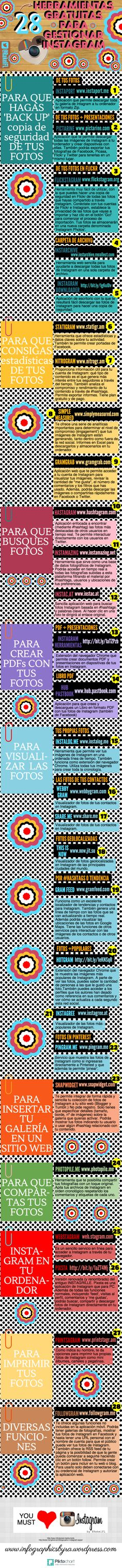 28 herramientas gratuitas para Instagram #infografia #infographic #socialmedia http://ticsyformacion.com/2014/02/06/28-herramientas-gratuitas-para-instagram-infografia-infographic-socialmedia/