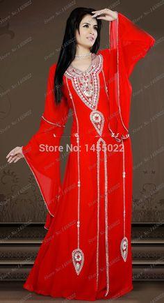 Nueva Moda 2016 Por Encargo Rojo Sexy Fancy Dubai Marroquí Caftán Islámico de…