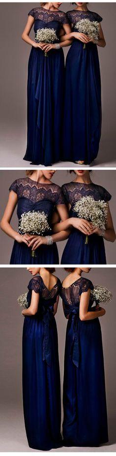 Long bridesmaid dress,navy satin bridesmaid dresses,elegant bridesmaid dress,satin bridesmaid dress,cap sleeve bridesmaid dress,cheap bridesmaid dress.XD