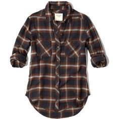 Abercrombie & Fitch Plaid Flannel Shirt (38 CAD) ❤ liked on Polyvore featuring tops, shirts, flannels, men's tops, navy and brown plaid, navy blue flannel shirt, tartan shirt, plaid shirts, navy tops and slouchy tops