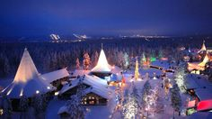 The Santa Claus village at the Artic Circle in Rovaniemi, Lapland, Finland Santa Claus Village, Santa's Village, Best Holiday Destinations, Amazing Destinations, Santas Lapland, Lapland Holidays, Beautiful World, Beautiful Places, Travel Tips