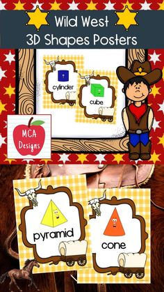 These colorful 3D shape posters are part of my Wild West Classroom Decor collection. Each poster features various 3D shapes accented with bright colors and western themed graphics! 3D Shape Posters Included: Pyramid Cube Cylinder Rectangular Prism Sphere Triangular Prism #teacherspayteachers #tpt #classroommanagement #backtoschool Teaching Schools, Teaching Resources, Teaching Ideas, Triangular Prism, 3d Poster, Shape Posters, 3d Shapes, Hands On Activities, Elementary Education