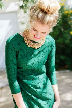emerald green and statement necklace