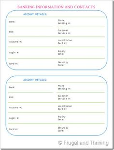 The next free printable in the series for creating your own household binder. This printable is for keeping all your banking information (except pins and passwords) in one place. Lost or stolen card? Planner Pages, Life Planner, Printable Planner, Printables, Free Printable, Binder Organization, Printable Organization, Organizing, Family Emergency Binder