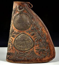 An late-Ottoman canteen. With a calligraphi… – En Güncel Araba Resimleri Ottoman Turks, Muslim Culture, Powder Horn, Beauty In Art, Camping Items, Canteen, Medieval Art, Ottoman Empire, Beautiful Patterns