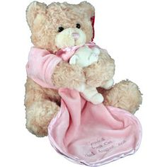 Pink Teddy Bear With Comforter This beautiful and very soft Pink Teddy Bear With Comforter makes a wonderful cuddly gift for a little girl whether its to celebrate her birth or for her naming ceremony or even a christening whate http://www.comparestoreprices.co.uk/personalised-gifts/pink-teddy-bear-with-comforter.asp