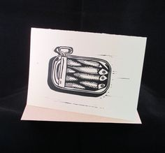 Sardines Linocut Greeting Card by CoffeeFishPress on Etsy Clear Bags, Black And White Illustration, Paper Envelopes, Stonehenge, Kraft Paper, All Design, Printmaking, Hand Carved, Greeting Cards