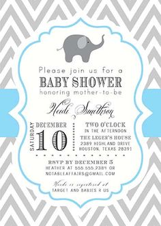 PRINTABLE Gray and Blue Chevron with Elephant Baby Boy Shower Invitation - colors can be changed. $15.00, via Etsy.